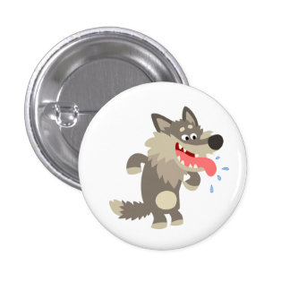 Cute Famished Cartoon Wolf Button Badge