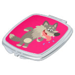 Cute Famished Cartoon Wolf Compact Mirror Travel Mirrors