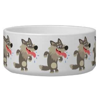 Cute Famished Cartoon Wolf Dog Bowl
