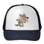 Cute Famished Cartoon Wolf Hat