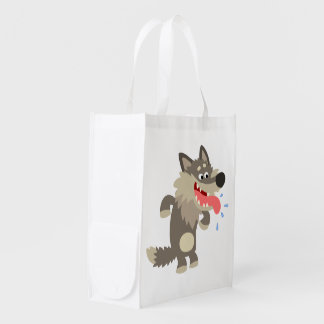 Cute Famished Cartoon Wolf Reusable Bag Grocery Bag