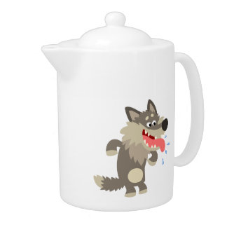 Cute Famished Cartoon Wolf Teapot