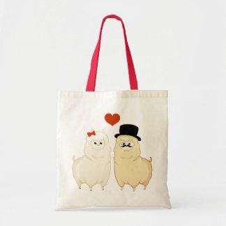 Cute Fancy Alpaca Couple Budget Tote Bag