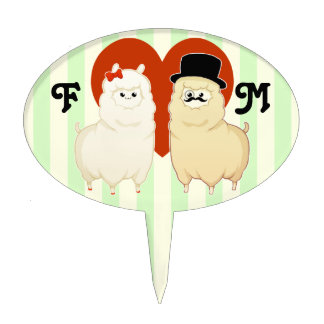 Cute Fancy Alpaca Couple Cake Topper