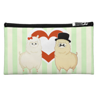 Cute Fancy Alpaca Couple Makeup Bag