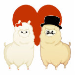 """Cute Fancy Alpaca Couple Statuette<br><div class=""""desc"""">A cute kawaii alpaca couple,  A fancy gentleman male alpaca with a mustache,  top hat,  and monocle. and a lovely cute female alpaca with a ribbon in its hair. perfect for couple or just for fun. Would make a great wedding / engagement gift or wedding cake topper, </div>"""