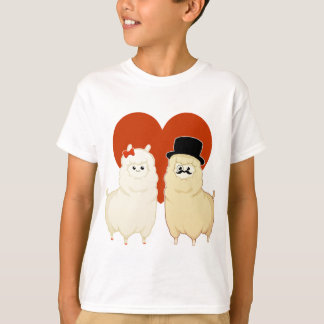 Cute Fancy Alpaca Couple T-Shirt