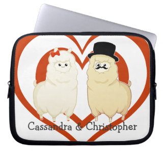Cute Fancy Alpaca Couple with customizable names Computer Sleeve