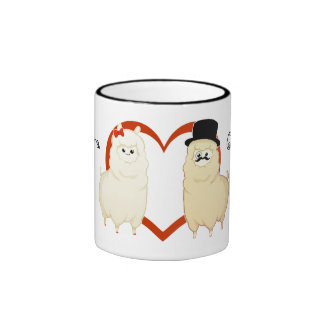 Cute Fancy Alpaca Couple with customizable names Ringer Coffee Mug