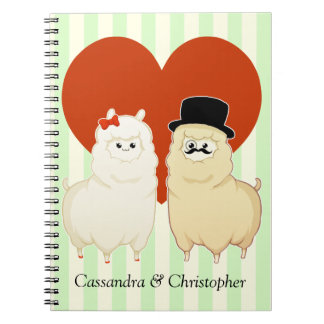 Cute Fancy Alpaca Couple with customizable names Spiral Notebook