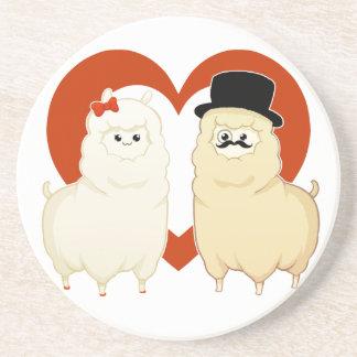 Cute Fancy Alpaca Couple with heart Beverage Coasters
