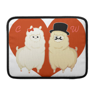 Cute Fancy Alpaca Couple with initials Sleeves For MacBook Air