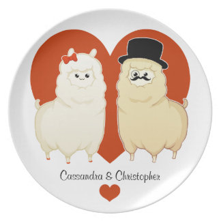 Cute Fancy Alpaca Couple with names Party Plate