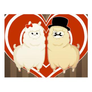 Cute Fancy Alpaca Couple with Postcard
