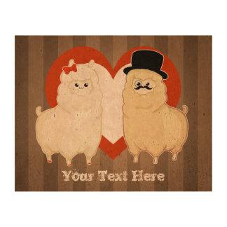 Cute Fancy Alpaca Couple with text option Cork Paper Prints
