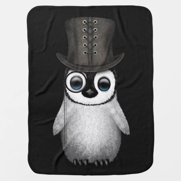 Cute Fancy Baby Penguin With Top Hat On Black Swaddle Blanket Zazzle Com