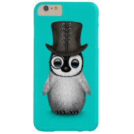 Cute Fancy Baby Penguin with Top Hat on Blue Barely There iPhone 6 Plus Case