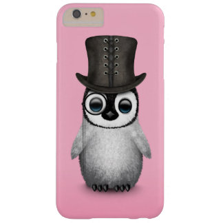 Cute Fancy Baby Penguin with Top Hat on Pink Barely There iPhone 6 Plus Case