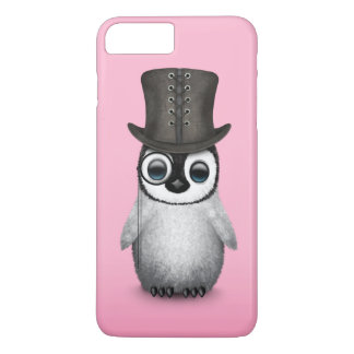 Cute Fancy Baby Penguin with Top Hat on Pink iPhone 8 Plus/7 Plus Case