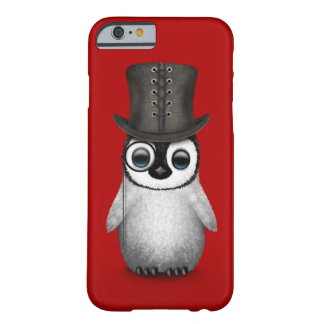 Cute Fancy Baby Penguin with Top Hat on Red Barely There iPhone 6 Case