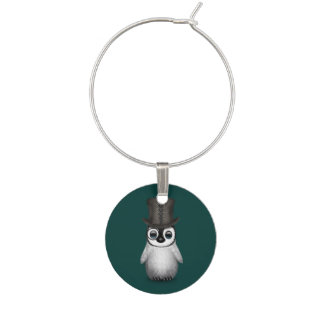 Cute Fancy Baby Penguin with Top Hat on Teal Blue Wine Charms