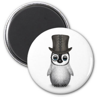 Cute Fancy Baby Penguin with Top Hat on White 2 Inch Round Magnet