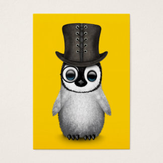 Cute Fancy Baby Penguin with Top Hat on Yellow Business Card