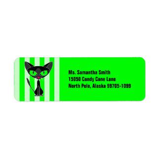 Cute Fancy Black Cat Green Return Address Label