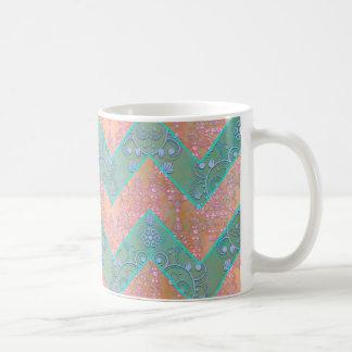 Cute Fancy Chevron with Damask Overlay Coffee Mug