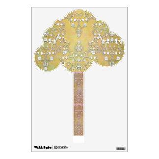 Cute Fancy Damask Tree in Gold Tones Wall Sticker