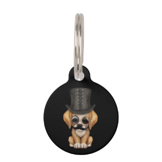 Cute Fancy Puppy with Monocle and Top Hat Black Pet Tag