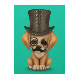 Cute Fancy Puppy with Monocle and Top Hat Blue Wood Wall Art