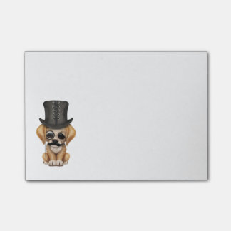 Cute Fancy Puppy with Monocle and Top Hat Post-It Notes