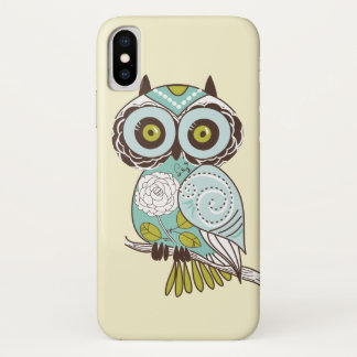 Cute Fancy Retro Groovy Owl iPhone X Case