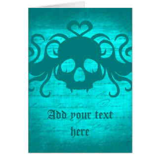 Cute fanged vampire skull aqua teal version card