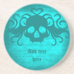 Cute fanged vampire skull aqua teal version drink coaster