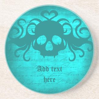 Cute fanged vampire skull aqua teal version coaster