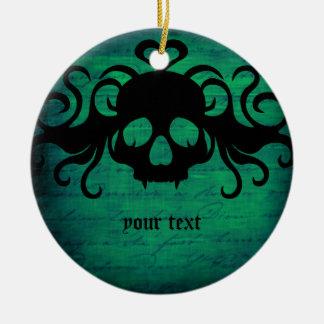 Cute fanged vampire skull dark green Double-Sided ceramic round christmas ornament