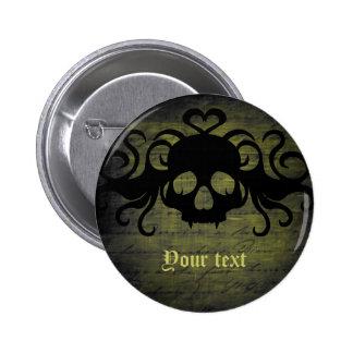 Cute fanged vampire skull olive green pinback button