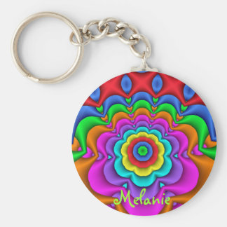 Cute fantasy flower & Custom Name Keychain