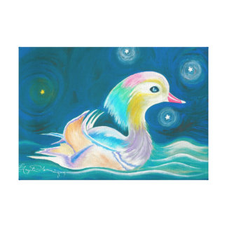 Cute Fantasy Mandarin Duck Painting Canvas Print
