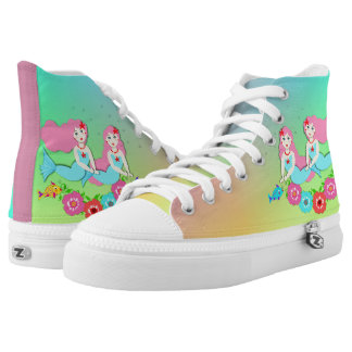Cute Fantasy Mermaids Ombre Rainbow Printed Shoes