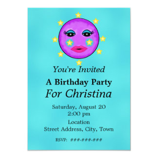 Cute Fantasy Purple Moon Face Stars Birthday 4.5x6.25 Paper Invitation Card