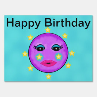 Cute Fantasy Purple Moon Face Stars Birthday Lawn Sign