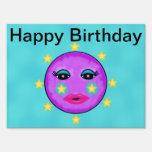 Cute Fantasy Purple Moon Face Stars Birthday Lawn Sign