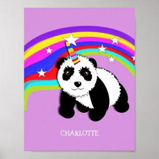Cute Fantasy Rainbow Panda Unicorn Personalized Poster