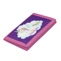 Cute Fantasy unicorn add name girls Trifold Wallet