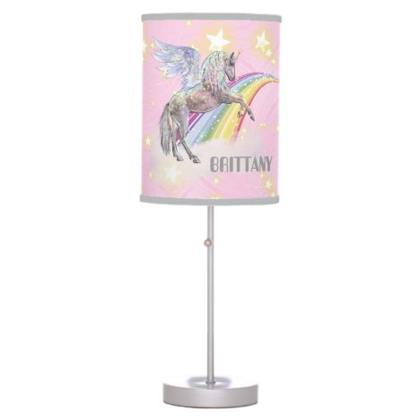 Cute Fantasy unicorn and rainbow add name lamp