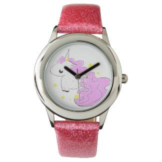 Cute fantasy unicorn with stars wristwatch