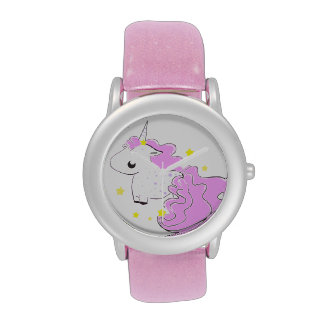 Cute fantasy unicorn with stars wristwatches
